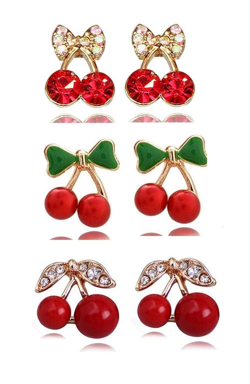 1 Set of 3 Pairs 18K Gold Plated Lovey Mini Cherry Set with Diamond Charm Women Girls Stud Earrings