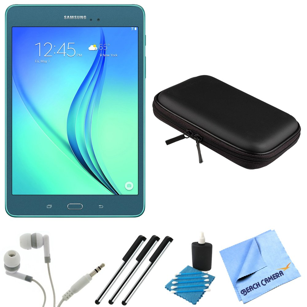 Samsung Galaxy Tab A SM-T350NZBAXAR 8-Inch Tablet (16 GB, Smoky Blue) Bundle includes Tablet, Headphones, Sleeve, 3 Stylus Pens, Lens Cleaning Kit and Micro Fiber Cloth by Samsung