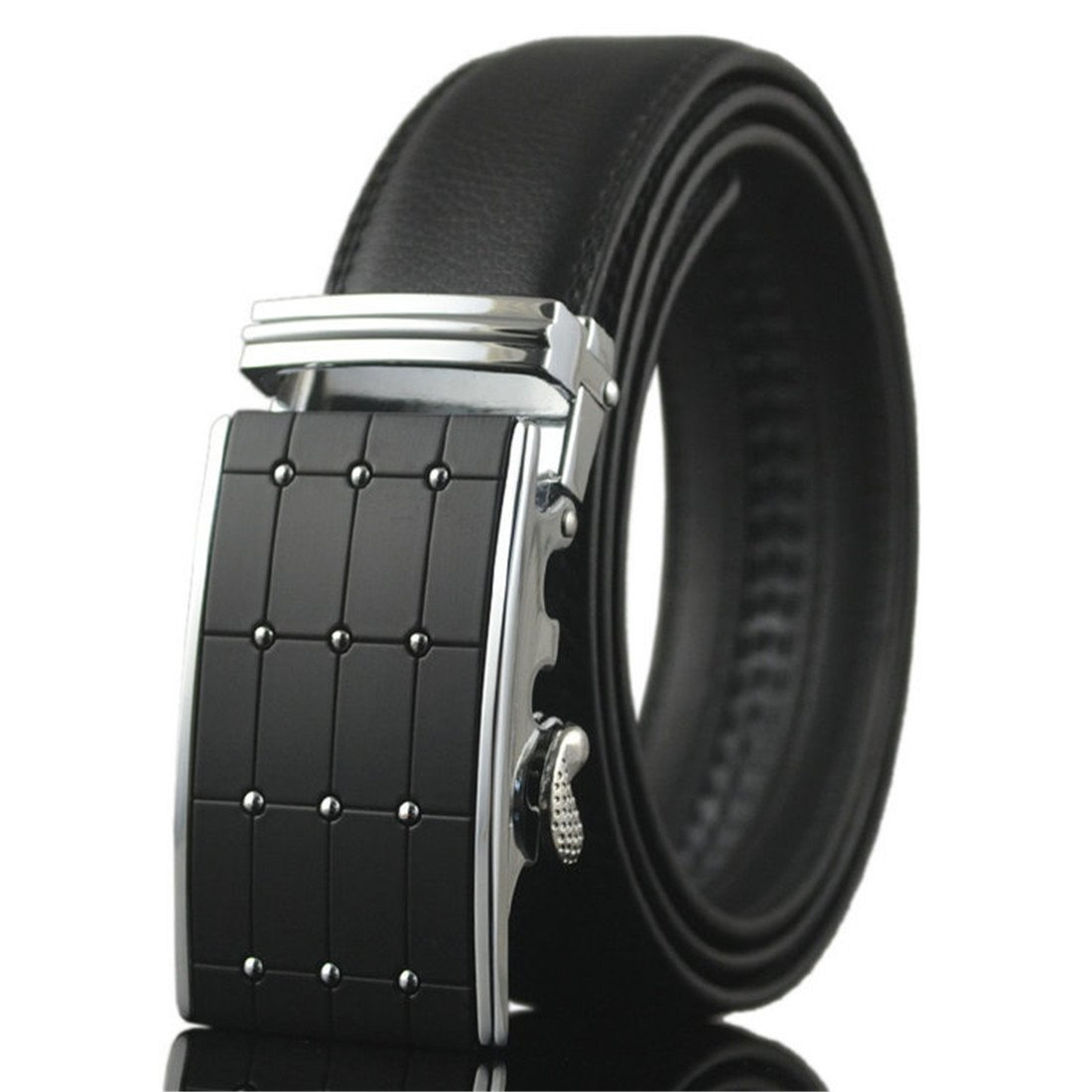 KHC Men's Belt 100% High Quality Leather Automatic Adjustable Buckle Black apparel-belts