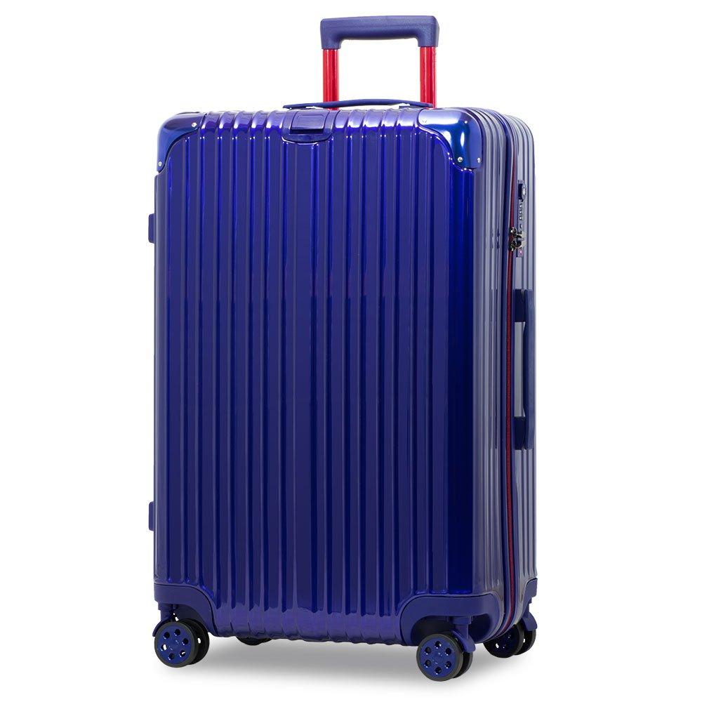 スーツケース アルミフレーム 機内持込~大型 軽量 超消音 ダブルキャスター 8輪 TSA キャリーケース キャリーバッグ B07DFBBPSS LL(一週間前後)-86L-ファスナー|ネイビー/レッド/ ネイビー/レッド/ LL(一週間前後)-86L-ファスナー