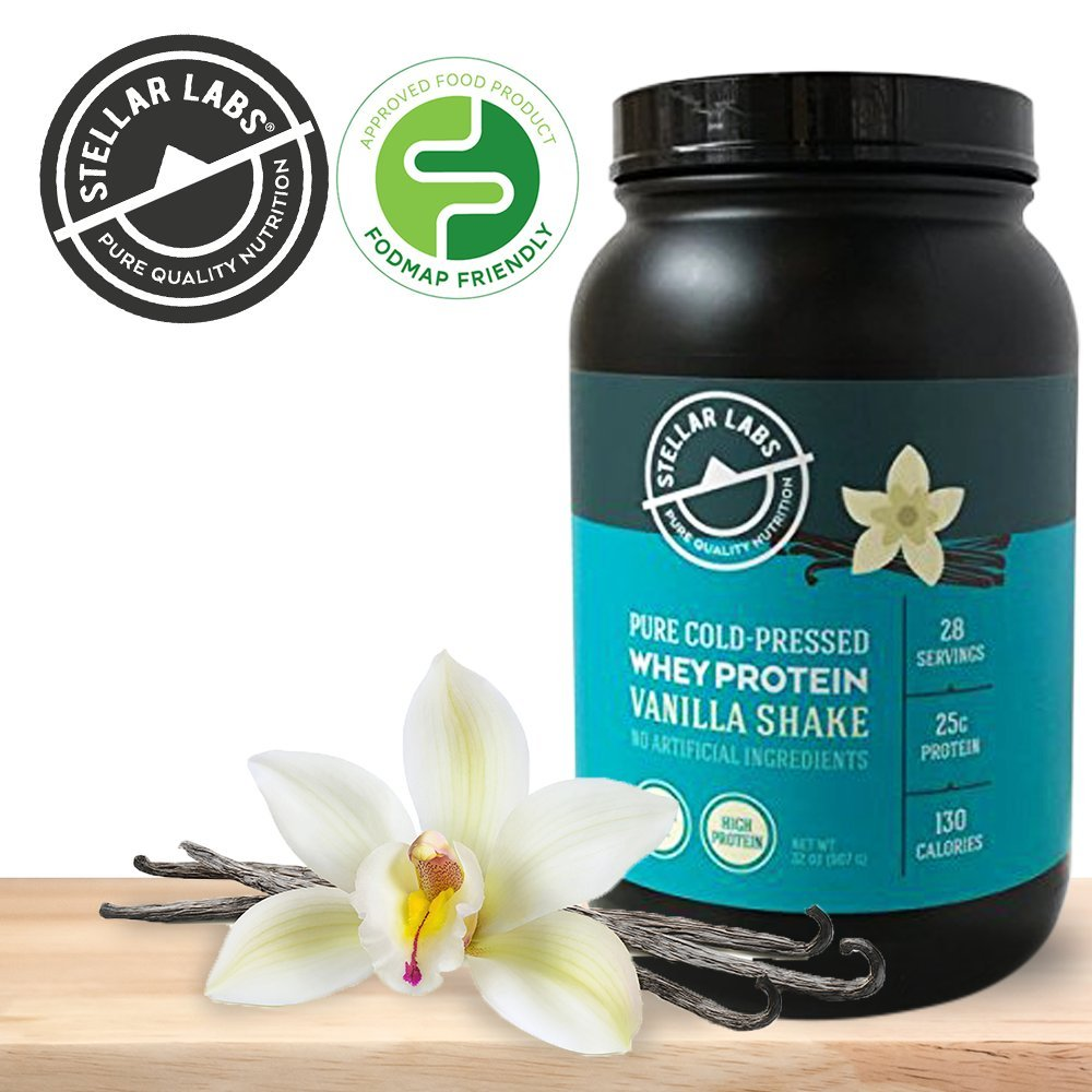 Stellar Labs Pure Cold-Pressed Vanilla Whey Protein Powder, Gluten-Free, High Protein, All Natural with Stevia, Low FODMAP, 28 Servings, 32oz by Stellar Labs