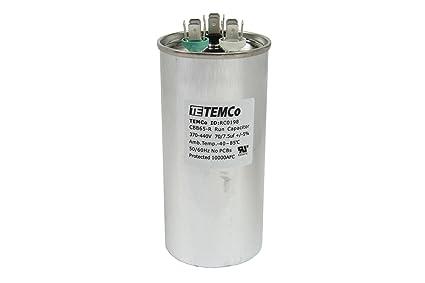TEMCo Dual Run Capacitor RC0198 70 75 Mfd 370 V 440 VAC Volt