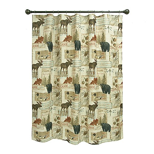 Adirondack Rustic Lodge - Bacova Guild Vintage Outdoors Fabric Shower Curtain Designed by Daphne