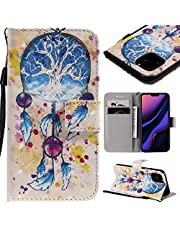 """Wallet Leather Case for iPhone 11 Pro 5.8"""" 2019,Aoucase Ultra Slim Fancy 3D Painted Full Body Magnetic Soft Silicone Card Slot Strap Stand PU Leather Case with Black Dual-use Stylus - Wind Chimes"""
