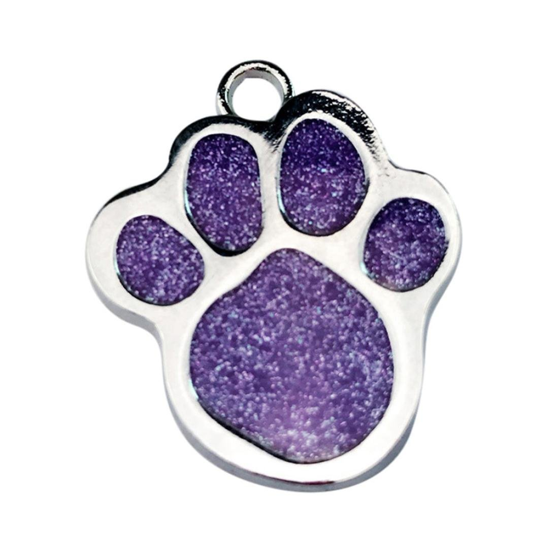 Sunward Pet ID,Dog and Cat Tags. PAW Print Custom Pet ID Tags For Small Medium Large Dogs and Cats, (Purple)