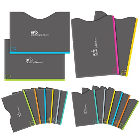 0683f69966c1 Aerb RFID Blocking Sleeves, Set of 16 (12 Credit Card Holders & 4 Passport  Protectors) for Identity Theft Protection, Perfectly Fits Wallet/Purse