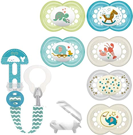 MAM SkinSoft Silicone Chupete 6-16 m., Juego De 6, + MAM Clip it. Fashion & Cover cinta para chupete con aspiradora Protección: Amazon.es: Bebé