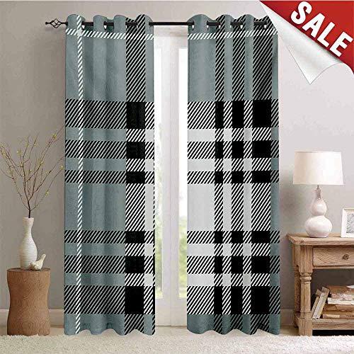Hengshu Checkered Window Curtain Drape Old Fashioned Plaid Tartan in Dark Colors Classic English Tile Symmetrical Customized Curtains W72 x L108 Inch Grey Black White