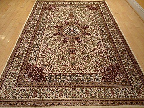 Silk Area Rugs 8x11 Living Room Rugs 8x10 Ivory Cream Rug Traditional Rugs High End Natural Bamboo (Complements Bamboo Rug)