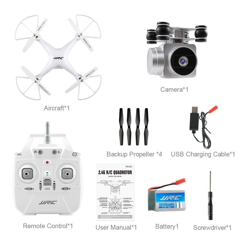 Chartsea Quadcopter Drone with Camera Live Video, JJRC H68 Wide Angle Lens 720P HD Camera WiFi FPV RC Drone (White) by Chartsea (Image #4)