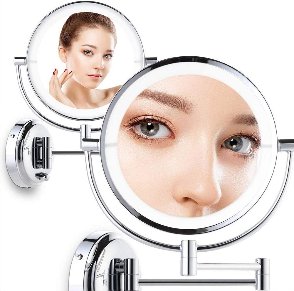 Vanity Mirror,Bathroom Makeup Mirror With 7X Magnification 360/° Swivel Extendable 8 Inch Wall Mount For Touch Screen Switch Plug In 10X Shaving mirror