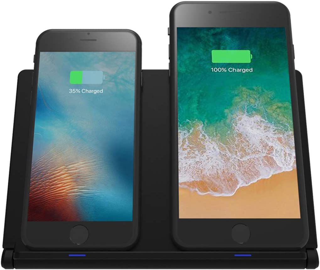 Dual Wireless Charger Stand for iPhone Xs,iPhone XR,iPhone Xs MAX iPhone X iPhone 8 Plus iPhone 8,Samsung Note9 S9 S9 Note8 YOLIKE Fast Wireless Charging Pad Foldable 24W QC Adapter Included