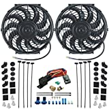 "American Volt Dual Performance 12"" Inch Electric Cooling Fans & 3/8"" Thread-in Thermostat Kit (180'F Turn On/165'F Turn Off)"