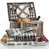 VonShef Deluxe 4 Person Traditional Wicker Picnic Basket Hamper with Cutlery, Plates, Glasses, Tableware & Fleece Blanket – Grey Gingham For Sale