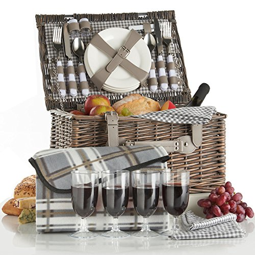 VonShef Deluxe 4 Person Traditional Wicker Picnic Basket Hamper with Cutlery, Plates, Glasses, Tableware & Fleece Blanket - Grey Gingham (Wine Picnic Basket Wicker)