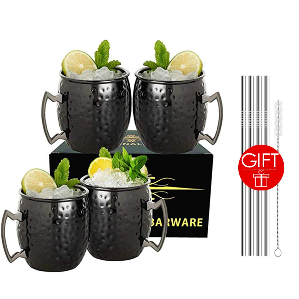 Moscow Mule Mugs Set of 4 - Food Safe Pure Solid Hammered Mugs 18 oz With Brass Handle and Stainless, Unlined Cups For Moscow Mule Cocktails and other Chilled Drinks, MUGS0003 (Black) by LINALL