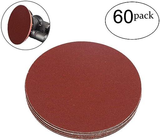 "100 Pack 5/"" Inch 40 Grit No Hole Hook /& Loop Sanding Discs Orbital DA Disks"