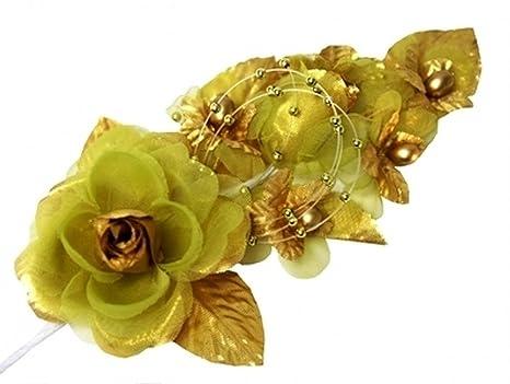 1c534574e Amazon.com : 3 Gold Silk Flowers Pearl & Organza Corsages 5