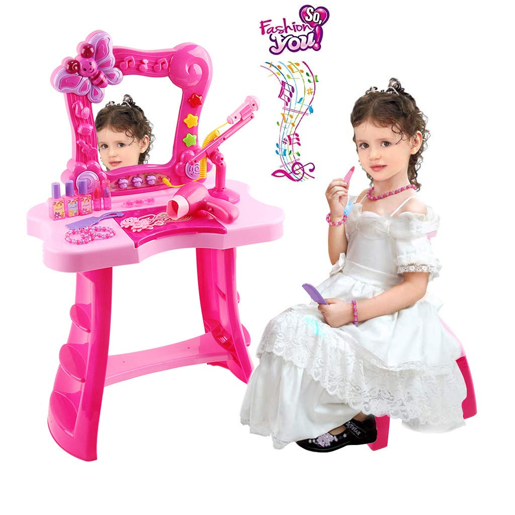 Pretend Play Kids Vanity Set | Toddler Beauty Dress-up Table & Chair Toys Makeup Accessories with Mirror, Microphone, Sounds,Hair Dryer Playset | Girls Salon Kit Toy (Red Fantasy Vanity Dresser Table)