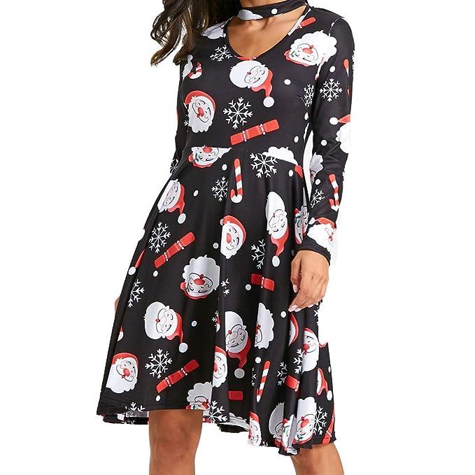 Vestidos de Fiesta Mujer Niña, Encaje de Navidad Impreso Vestidos Invierno Mujer Manga Larga Talla Grande para Bodas, Vestidos de Fiesta Cortos: Amazon.es: ...