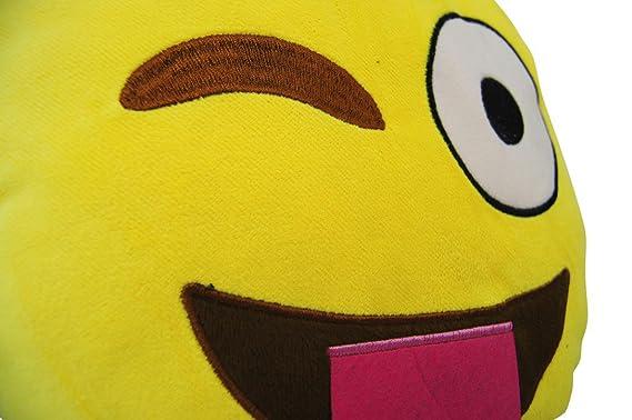 Katara 1788 Cojín Redondo Emoji Almohadilla Emoticono Whatsapp, Almohada Smiley De Peluche, Para Sofá - Travieso: Amazon.es: Juguetes y juegos