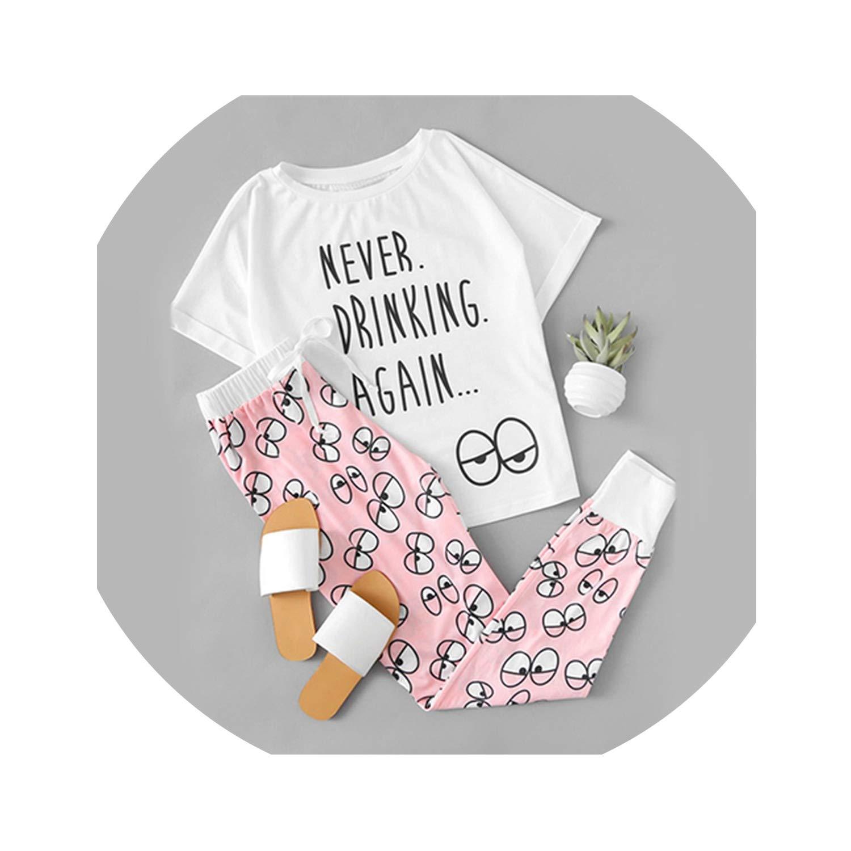 Multi Cute Cartoon Pajama Sets Women White Pink Letter Eye Print Tee and Pants Sleepwear Spring Drawstring Casual Pajama Sets
