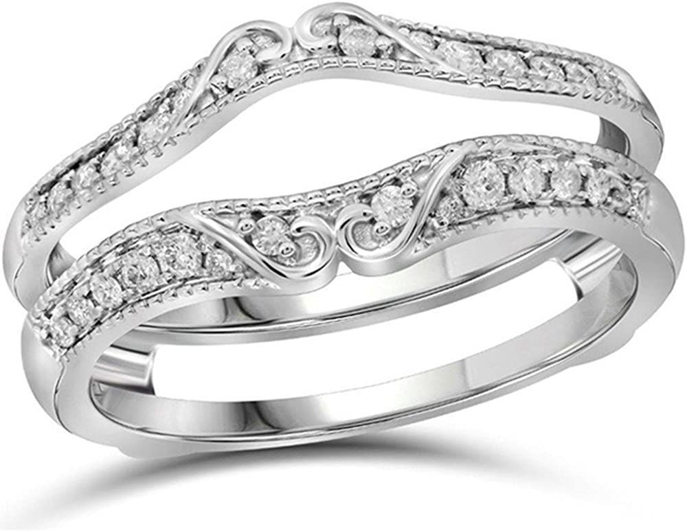 Solitaire Enhancer 0.75 CT Round Cut Simulated Diamond Ring Guard Wrap Contour Band Halo Style 14K White Gold Finish Sterling Silver