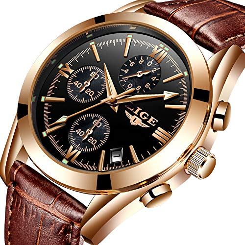 LIGE Mens Watches Luxury Business Dress Wristwatch Waterproof Analog Quartz Watch Gold Black Date Leather Wristwatch