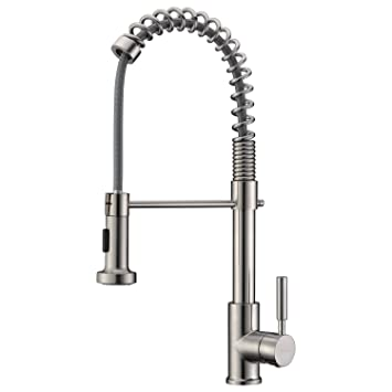 commercial sink faucet home depot upgraded version solid brass style single handle pull out sprayer kitchen brushed with