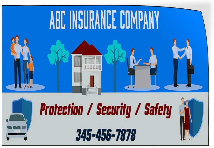 Custom Door Decals Vinyl Stickers Multiple Sizes Company Name Protection Phone Number Business ABC Insurance Company Outdoor Luggage /& Bumper Stickers for Cars Blue 52X34Inches Set of 2