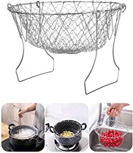 Foldable Steam Rinse Deep Frying Basket Stainless Steel Fry French Magic Basket Mesh Basket Strainer Net Fried Filter Drainage Rack for Fried Food or Fruits Multifunctional Kitchen Cooking Tool