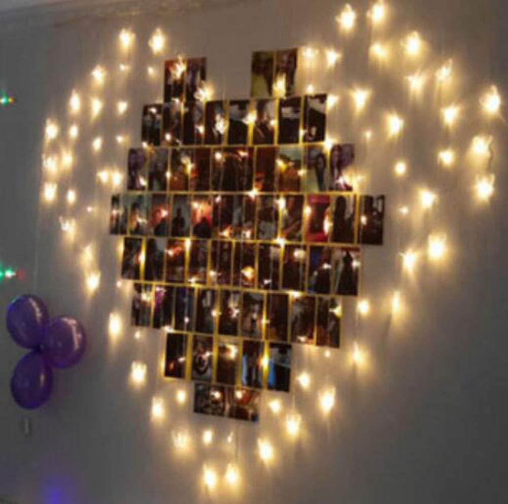 JIANGJIE D/écoration De Jardin Coeur en Forme De Coeur sallume Les Lumi/ères LED sallume La Cha/îne De Magasin De D/écoration De Style Night Light,Color