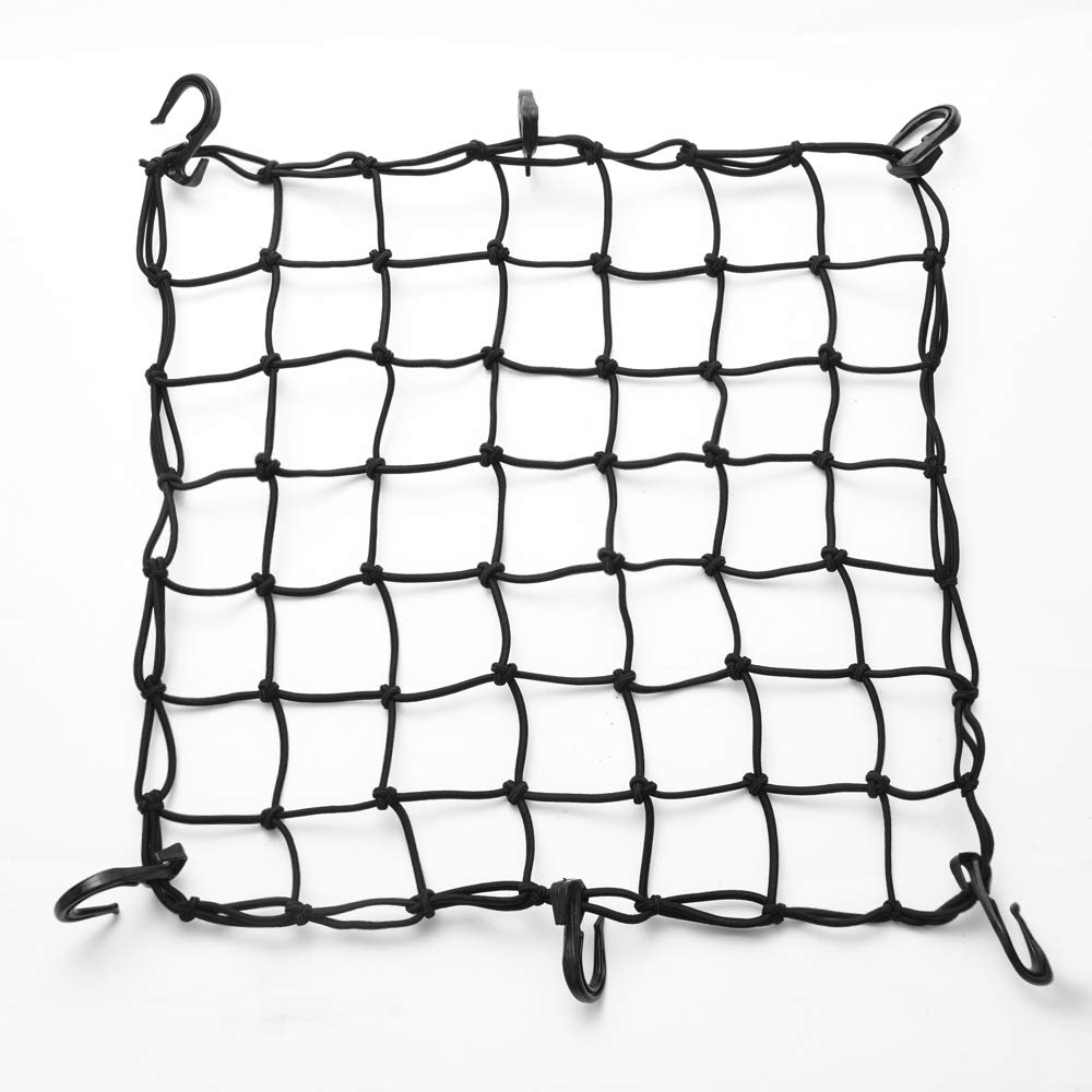 MICTUNING Motorcycle/Bicycle Helmet Cargo Net - 15'x15' Universal Heavy Duty Motorcycle Bungee Net | 6 Adjustable Hooks & Tight 2'x2' Mesh for Tighter Loading