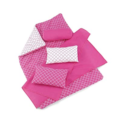 18 Inch Doll Accessories | Reversible Pink and White Moroccan Tile Print Bedding Set with Comforter, 3 Pillows and Sheet | Fits American Girl Dolls