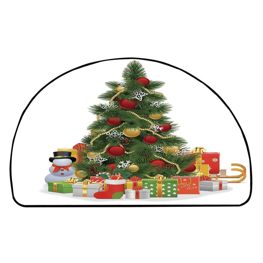 C COABALLA Christmas Comfortable Semicircle Mat,Xmas Tree with Decorative Balls and Snowflakes New Year Celebration Theme Decorative for Living Room,11.8'' H x 23.6'' L