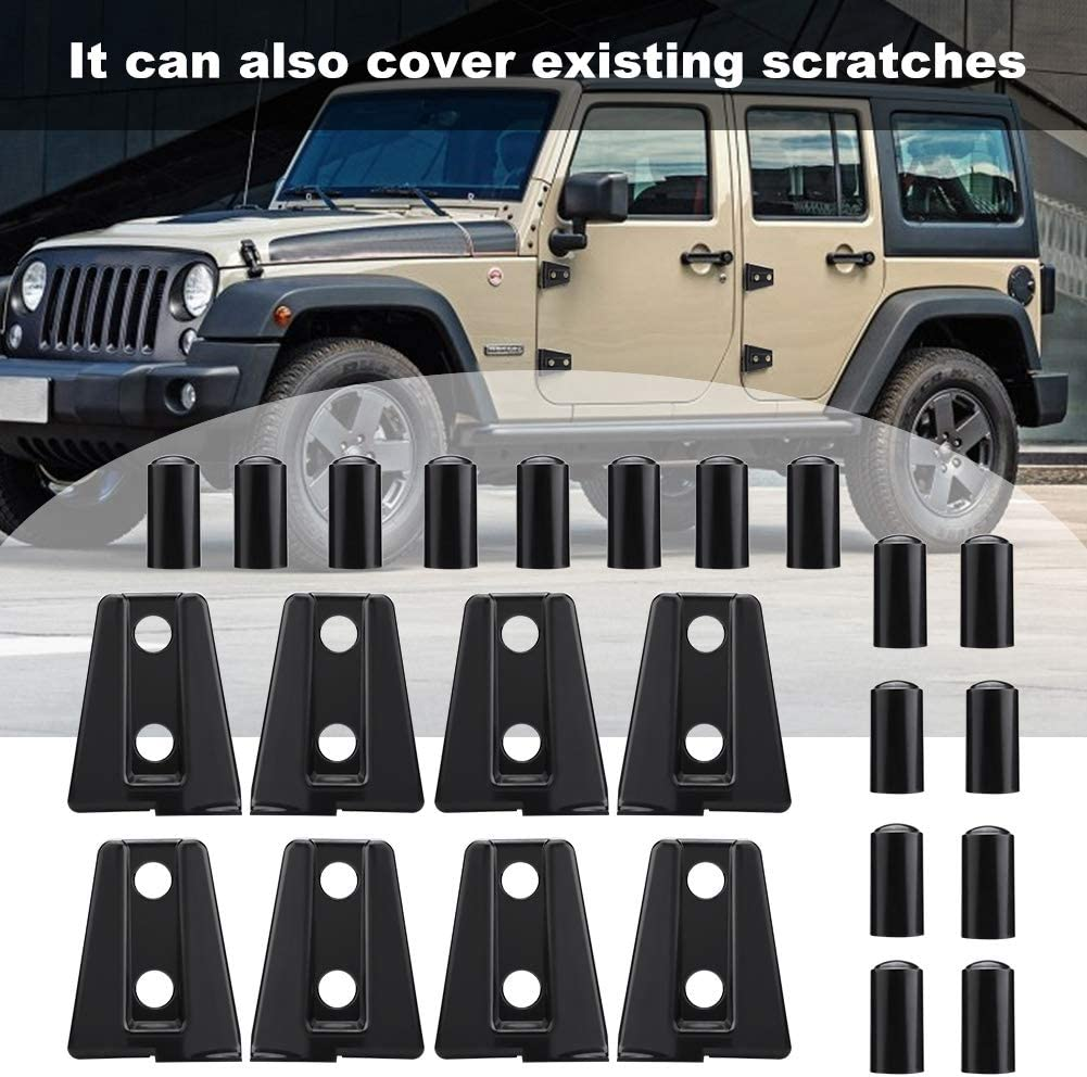 8pcs Black Resistant to Slight Impact Compatible with Je-ep Wra-ngler J-K Unlimited 4-Door 2007-2018 Car Door Hinge Cover Trim