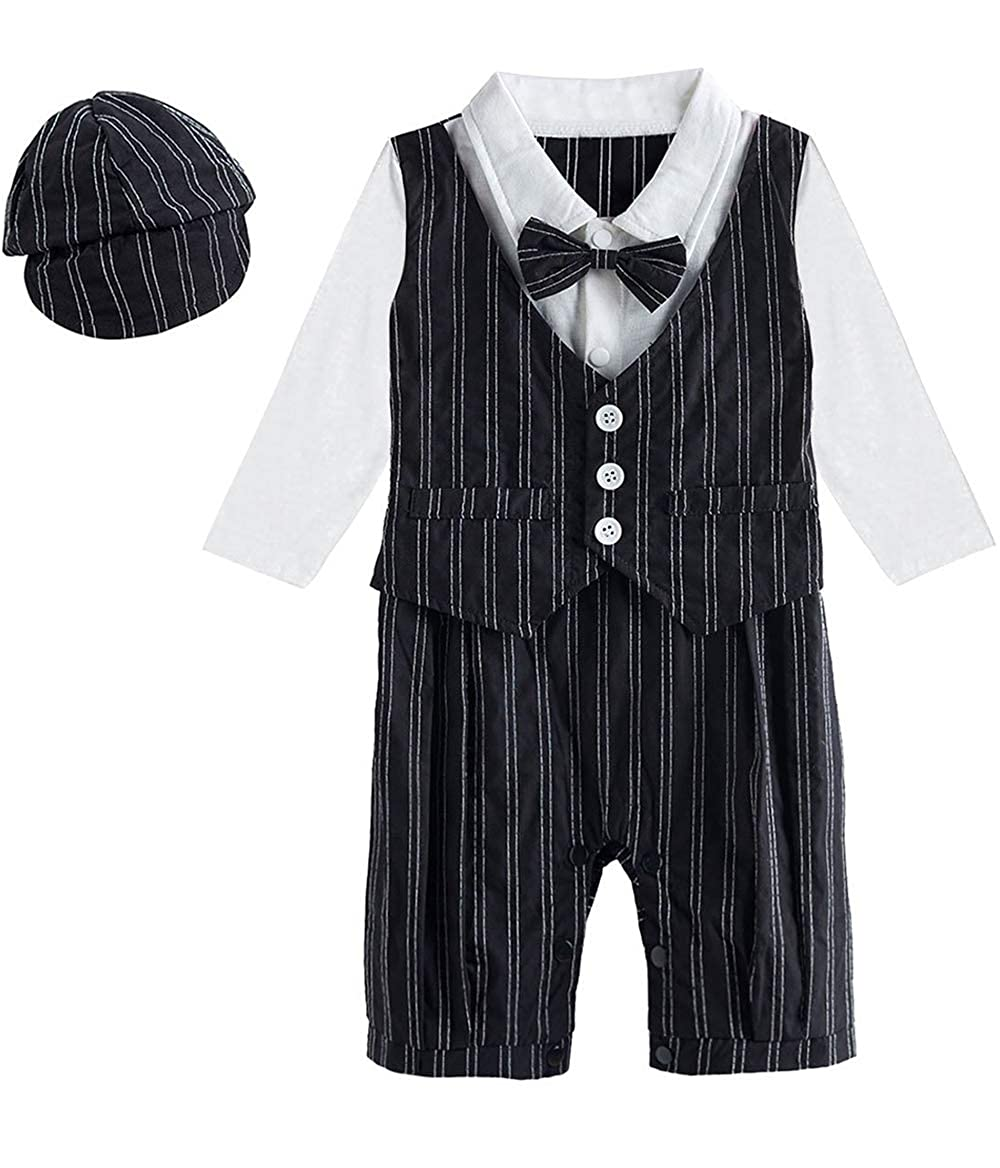 Mombebe Baby Boys Gentleman Formal Romper with Bow Tie and Hat