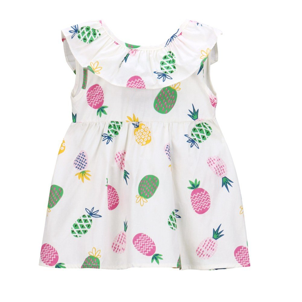 Baby Girls Dresses Toddler Kids 100% Cotton Hawaii Dress Sleeveless Pineapple Dress Vest Tshirts Yamally Yamally_9R