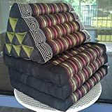 NOINOI Thai Foldout Triangle Cushion 67x21x3 In.Kapok Thai Silk Fabric (Red)