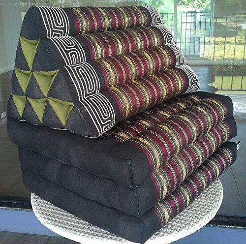 NOINOI Thai Foldout Triangle Cushion 67x21x3 In.Kapok Thai Silk Fabric (Red) by NOINOI