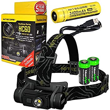 Nitecore HC60 1000 Lumens CREE XM-L2 U2 LED headlamp bundled with NL189 USB rechargeable Li-ion battery & Two EdisonBright CR123A Batteries