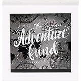 UMICAL 6x6 Inch Adventure Fund White Shadow Box Frame Wood Fund Savings Bank Money Box Frame Travel Fund Box with World…