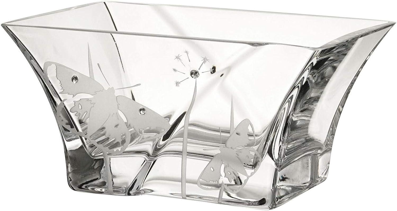 dans Un /él/égant Coffret Cadeau doubl/é de Satin Design europ/éen Annas Exclusive Decor Vase Papillon en Verre Fait /à la Main Transparent D/écor/é avec des Papillons sabl/és 23 cm