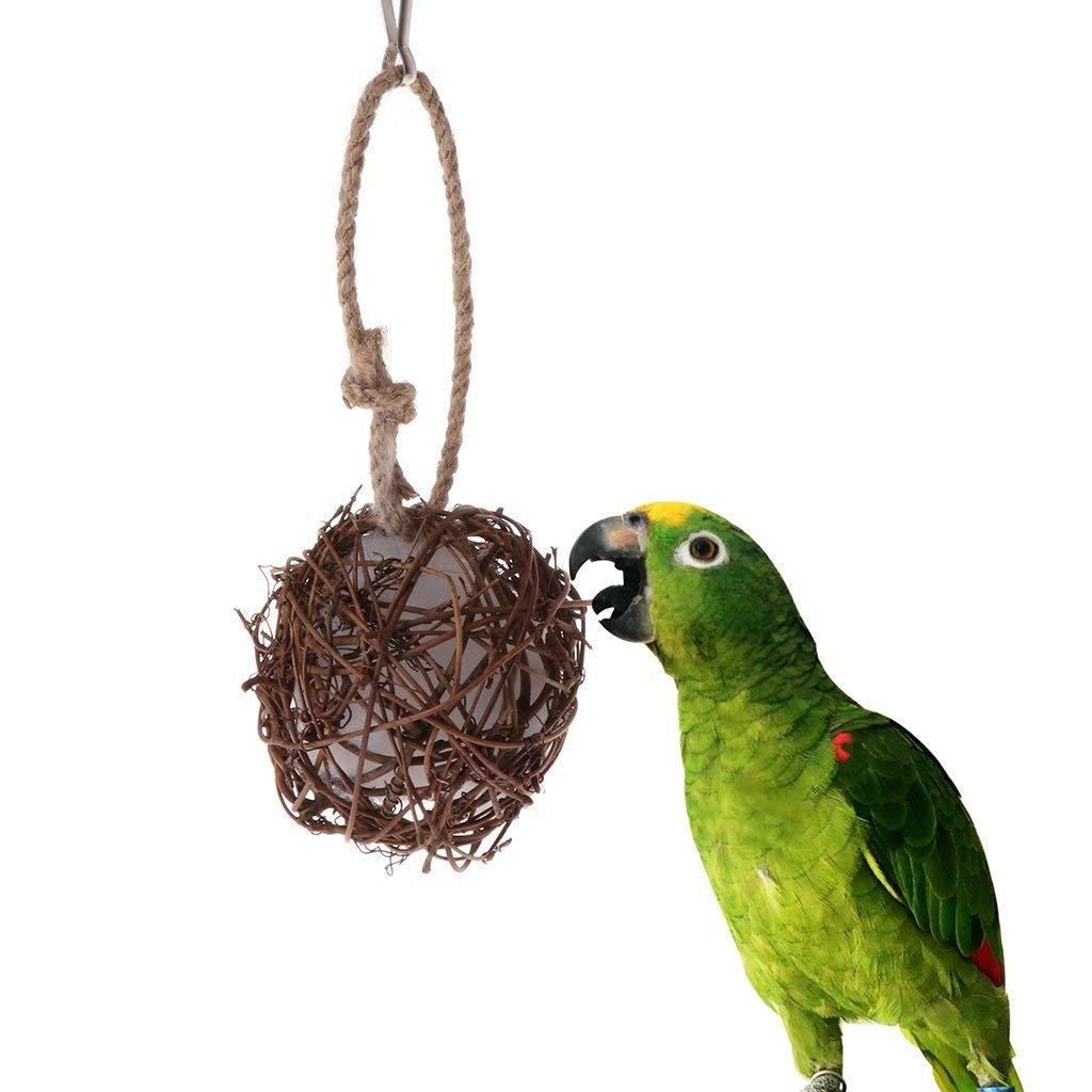 Tandou Parrot Toys - Bola de Mimbre para Colgar jaulas de pájaros, paracakeet, Masticar Cometas