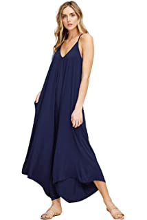 a011a07de2a5 Annabelle Women s Asymmetrical V Neck Loose Fit Side Pocket Comfy Overall  Jumpsuit Rompers