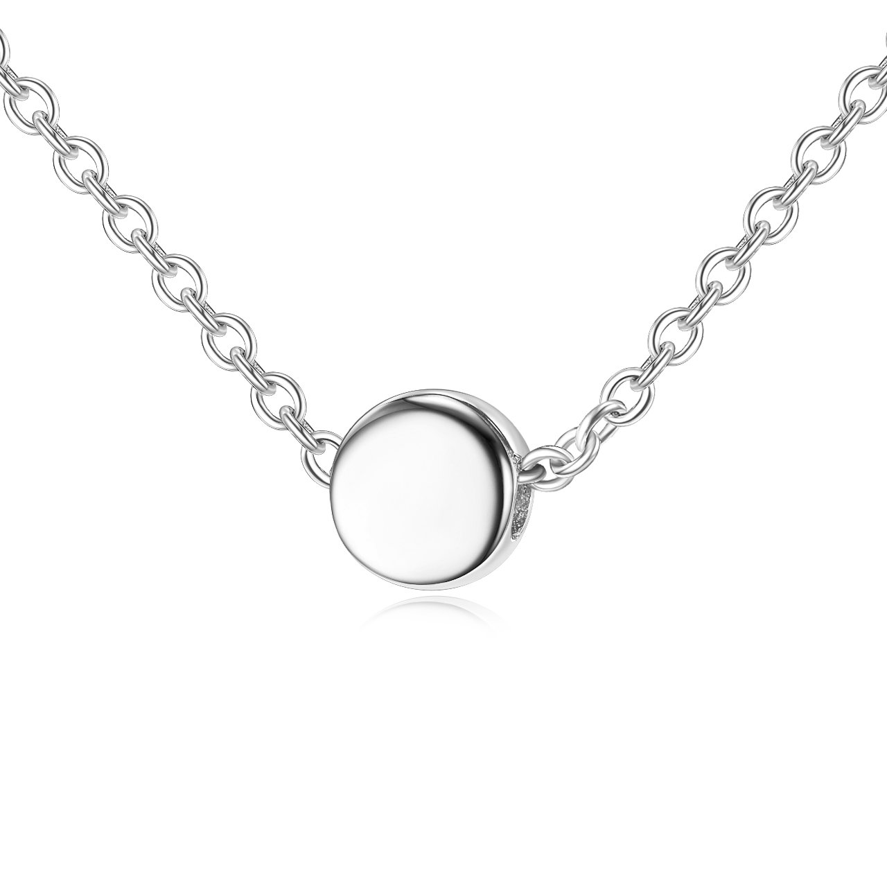 Lemondrop Sterling Silver Tiny Dot Necklace - Round Circle Necklace for Women
