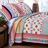 Quilt Set 100 Cotton 3 Piece with Shams Full/Queen Reversible Retro Bohemian Style Printed with Flowers Mandala Medallion Geometric Pattern Blue Red Yellow Luxury Bedding - Includes Bed Sheet Straps