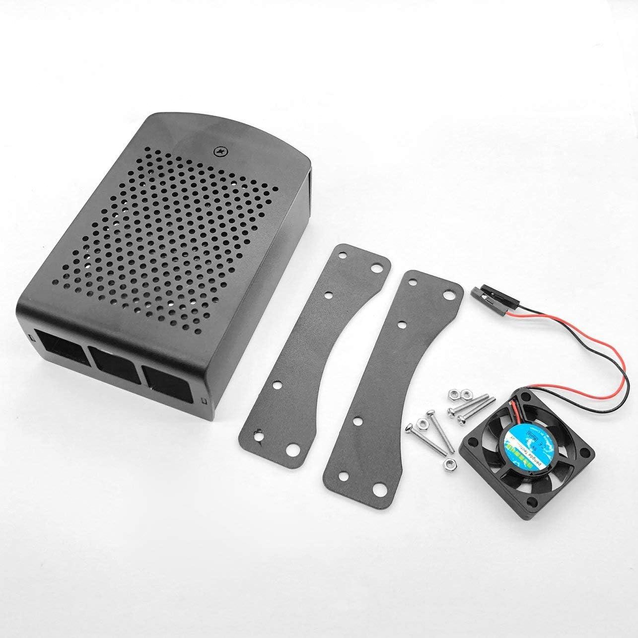 WOSOYES/® Pour Raspberry Pi 4B Bo/îtier en aluminium Bo/îte de coque en m/étal noir avec bo/îtier de ventilateur noir pour RPI 4 Mod/èle B Bo/îtier RPI 4B