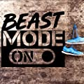 "Nifty Fam Wall Art Decal: Beast Mode | ON - Large Vinyl Motivational or Inspirational Quote Perfect for Home/Office Gym Decoration or Fitness & Sport Wall Decor | 24"" x 21"" Black Wall Sticker"