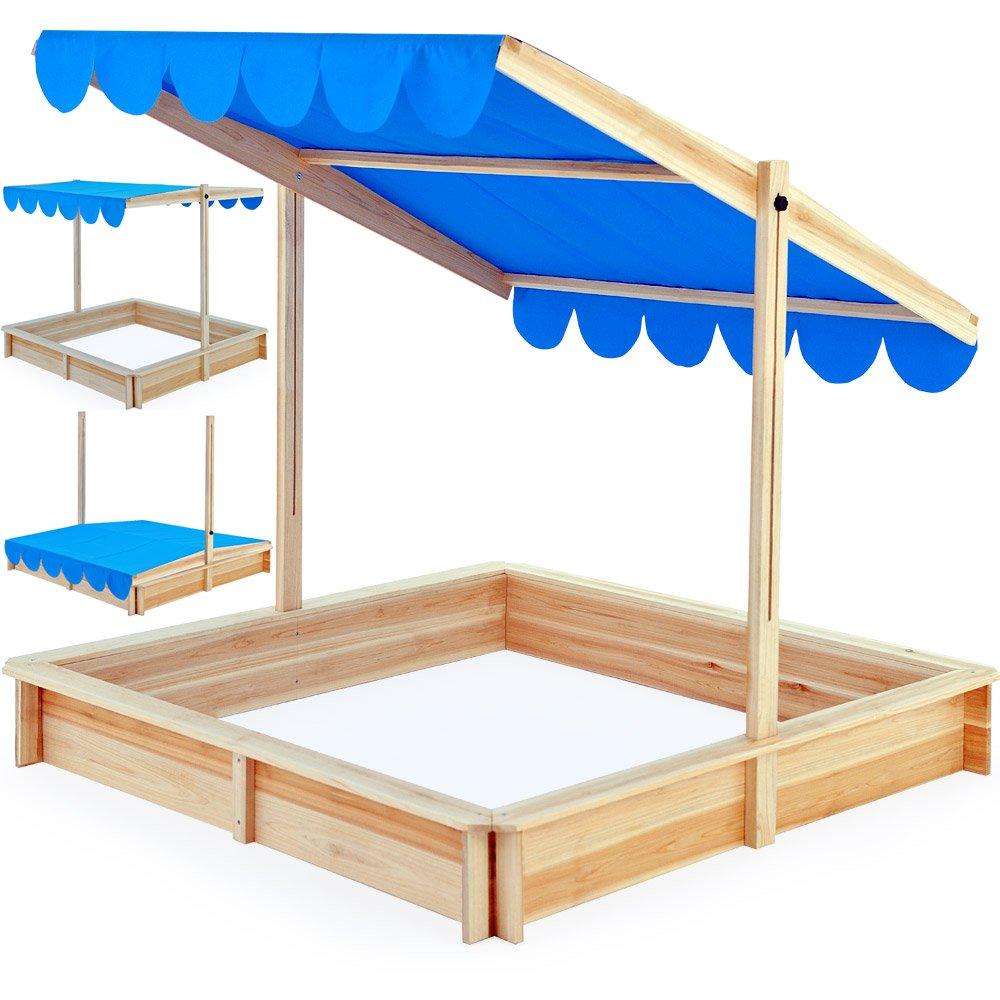 Sandkasten Spielhaus Holz Verstellbares Dach Sandbox Sandkiste Kinder 140x140cm